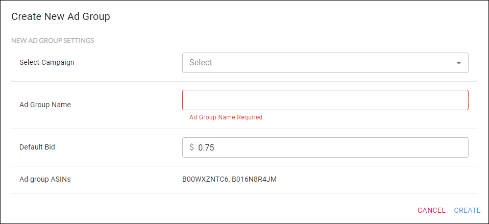 Create Ad Group - set an ad group default bid and include ASIN's